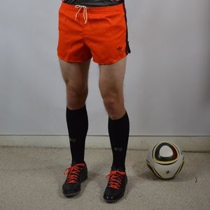 1980s Adidas Cotton Blend Soccer Shorts Orange New